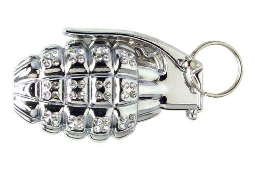 Jeweled Hand Grenade Belt Buckle - Silver (Grenade Belt Buckle compare prices)