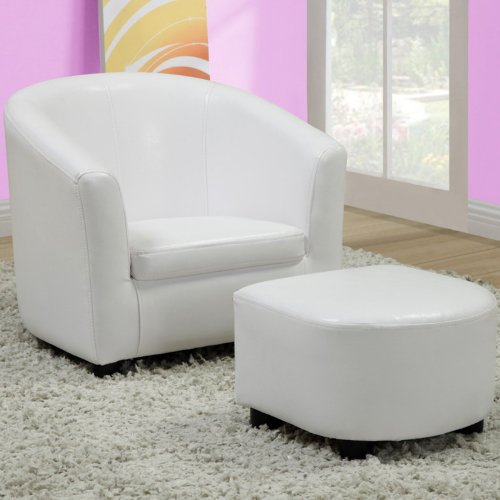 Monarch Specialties Leather-Look Juvenile Chair Ottoman, White, Set of 2