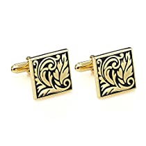 Amazing Cufflinks for Men Stainless Steel Egyptian Groove Gold