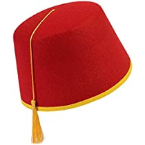 Red Fez Felt Hat Red/Gold