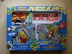 Puzzle Car Track Set -- Vehicle Puzzle Battery Operated Car Play Set. Kids Puzzle Toy Vehicle Play Set & 16 Piece Puzzle Track Sets for Kids (construction)
