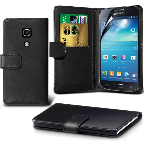 Fone-Case ( Black ) Samsung Galaxy S4 Mini Faux Stylish Pu Leather Wallet Credit / Debit Card Flip Case Skin Cover With Screen Protector Guard