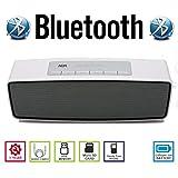 AGM Bluetooth スピーカー ステレオ YOUTUBE視聴可 手のひらサイズ 低音専用ウーハー装備 ( ハンズフリー テレホン ) ( LINE IN ) ( USBメモリー ) ( MICRO SD ) 安心の基本機能一年メーカー保証 日本語説明書付 S815 (ホワイト)