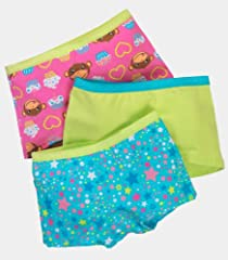 Fruit of the Loom Girls' 3pk Fresh Cotton Stretch Boyshort