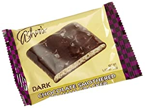 Asher's Dark Chocolate Smothered Graham Crackers, 1.02-Ounce Packages (Pack of 18)