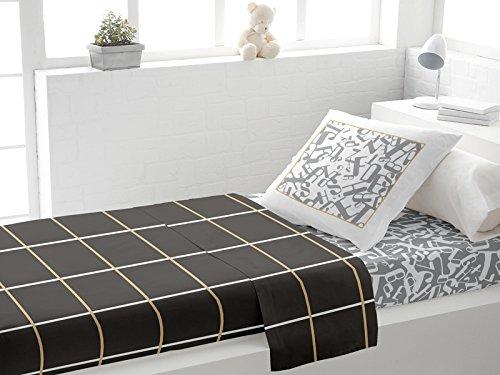 Set lenzuola per letto singolo in cotone ALPHA grigio di Soleil d'Ocre