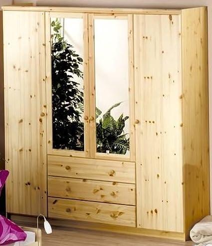6-6-2080: schöner Kleiderschrank - Kiefer teilmassiv - 200cm hoch - 4-turig - 193cm breit - mit 2 Spiegel
