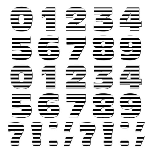 Graphics And More Numbers Punctuation Novelty Gift Locker Refrigerator Vinyl Magnet Set, Black And White Stripes front-609525