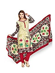 PShopee Off-White & Maroon Printed Cotton Unstitched Salwar Suit Material