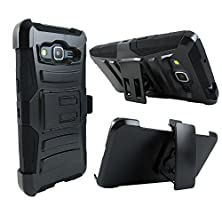 buy Samsung Galaxy Grand Prime G530H / Galaxy Go Prime G530A Case, Kaleidio [Impact Holster] Hybrid Rugged Cover W/ Stand And Swivel Belt Clip Holster [Includes A Stylux Stylus] [Black/Black]