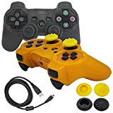 BlueLoong PS3 Controller Wireless Double Shock Black and Gold 2 Pack