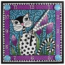Decoupage Art Clock - Black and White Garden Cat