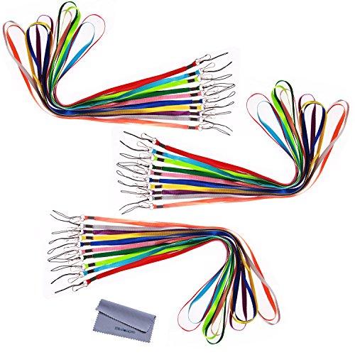 """Wisdompro® Confezione Da 17""""Colorful Nylon Neck Strap Lanyard con gancio e anello tono per dell' Ufficio USB, Chiavi, Portachiavi, ID Nome tag Badge titolari o altri portatile articolo-Colori assortiti 30Pcs 10-Color Pack 10-Color"""