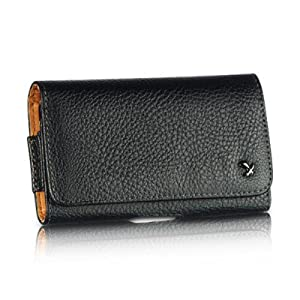 Luxmo Horizontal Leatherette Pouch Case with Belt Clip and Loops/Magnetic Closure for Samsung Galaxy Note i717/i9220/Note 2 - Retail Packaging - Black