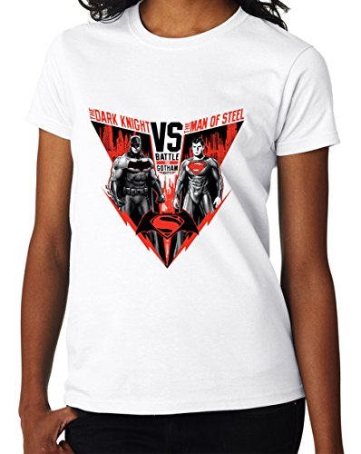 The Battle Of Gotham Batman vs Superman Dark Knight vs Man of Steel Awesome Design Women DonnaWhite T-shirt