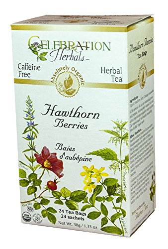 Celebration Herbals Organic Hawthorne Berries Tea Caffeine Free — 24 Herbal Tea Bags