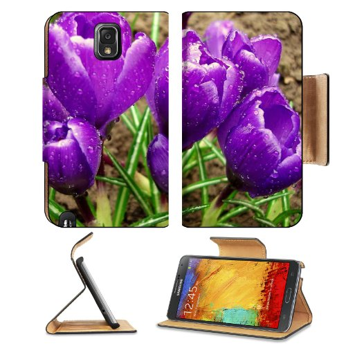 Crocuses Flowers Primrose Drops Fresh Spring Samsung Galaxy Note 3 N9000 Flip Case Stand Magnetic Cover Open Ports Customized Made To Order Support Ready Premium Deluxe Pu Leather 5 15/16 Inch (150Mm) X 3 1/2 Inch (89Mm) X 9/16 Inch (14Mm) Liil Note Cover