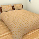 Thuhil home linen Heartz Printed Bedspread with 2 pillow covers - King, Yellow