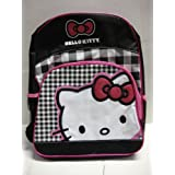 """Hello Kitty Large (16"""") Backpack White Kitty With Pink Glitter Ribbon"""