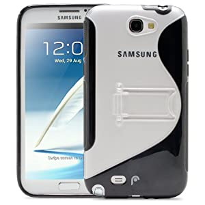 Fosmon HYBO-SK Series PC + TPU Hybrid Kickstand Case for Samsung Galaxy Note 2 II / N7100 - Black