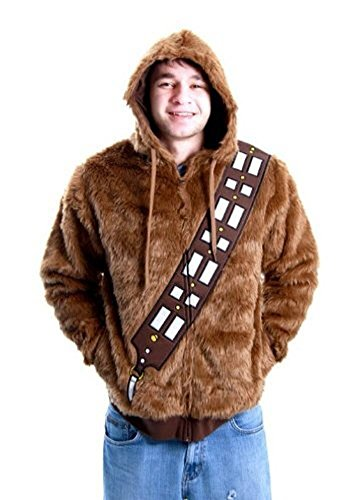 Star Wars Chewbacca Faux Fur Adult Brown Costume Zip Up Sweatshirt (Adult XX-Large)