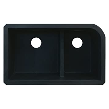 Transolid RUDJ3118-09 Radius 19.25-in W x 31.75-in L Granite Double Offset Undermount Kitchen Sink, Black