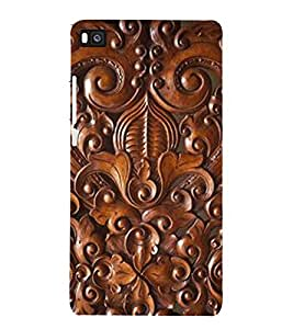 printtech Wood Carving Design Back Case Cover for Honor P8