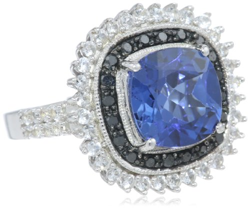 Sterling Silver Created Ceylon Sapphire with Created White Sapphire and black Diamond Ring, Size 7