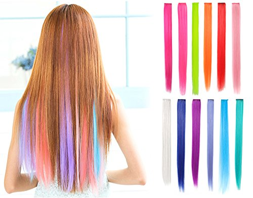 OneDor® 23 Inch Straight Colored Party Highlight Clip on in Hair Extensions Multiple Colors