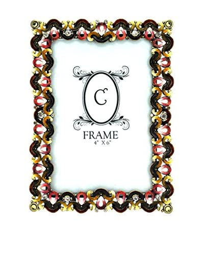 4 x 6 Jeweled Pewter Frame, Green/Yellow/Pink