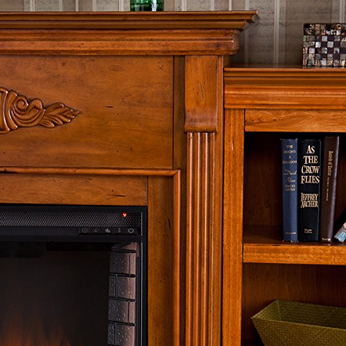Electric Fireplace with Open Bookcase , Glazed Pine