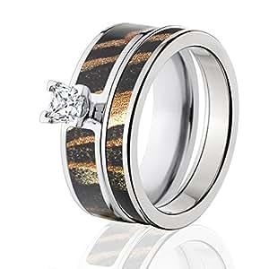 Amazon Mossy Oak Camo Bridal Set Camo Wedding Rings Shadow Grass Camo Rings Jewelry