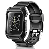 Apple Watch Band 42mm, Apple Watch Series 3 42mm Shockproof Rugged Sport Protective Band For iWatch 3/2/1 With Bumper Case Strap Replacement Active Style For Men