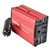 Bapdas 150W Car Power Inverter DC 12V to AC 110V With 3.1A 2 USB Ports for Laptop, Tablets,phones, Razor,Electric drill and So On-Red