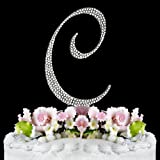 Completely Covered Swarovski Crystal Silver Wedding Cake Toppers ~ LARGE Monogram Letter C