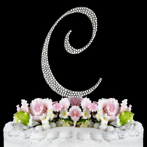 Completely Covered Swarovski Crystal Silver Wedding Cake Toppers ~ Large Monogram Letter C back-815892