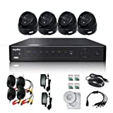 SANNCE Full Channel D1 H.264 4CH Real Time Digital Video Recorder and 4 x 480TVL CMOS Day Night CCTV Camera Security System with PC & Smart Phone Remote Viewing
