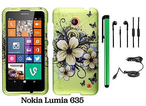 Nokia Lumia 635 (Us Carrier: T-Mobile, Metropcs, And At&T) Premium Pretty Design Protector Cover Case + Car Charger + 3.5Mm Stereo Earphones + 1 Of New Assorted Color Metal Stylus Touch Screen Pen (Apple Green Butterfly Flower)