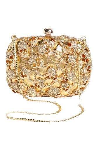 Natasha Skull Patch Clutch in Gold