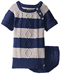 Nautica Baby Girls\' Striped Cable Knit Dress with Gold Buttons, Beige Heather, 12 Months