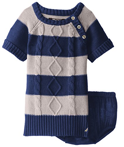 Nautica Baby-Girls Infant Roll Sleeve Stripe Cable Dress, Beige Heather, 24 Months