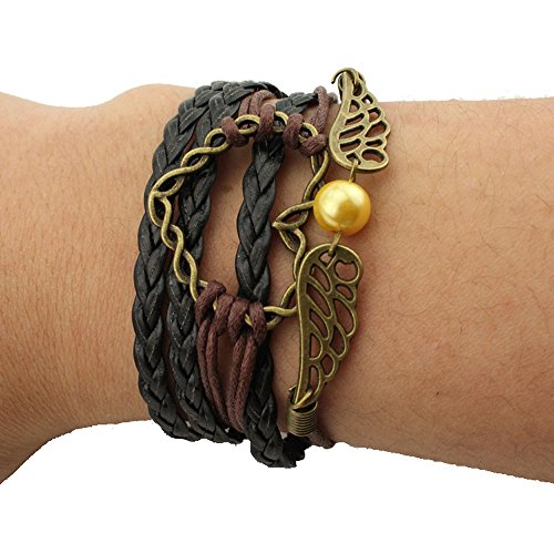 [Girl Era Fine Vintage Multi-Strands Leather Bracelets,Wrist Band Black Friendship Bracelet(6)] (Flower Child Costumes Ideas)