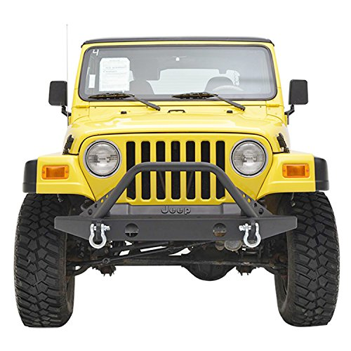 Black Textured Off Road TJ YJ Jeep Wrangler E-Autogrilles Front Jeep Bumper with 2 D-rings