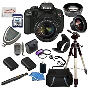 Canon EOS Rebel T4i Digital Camera with EF-S 18-135mm f/3.5-5.6 IS STM Lens + Wide Angle & Telephoto Lens, Filters, 16GB SDHC Memory Card, Card Reader, Case, 2 Replacement Batteries and Rapid Travel Charger