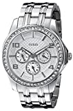 GUESS Women's U0147L1 Polished Glamour Silver-Tone Crystal Watch