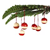 Maya Organic Handcrafted Wooden Christmas Décor : BAUBLES - Red (set Of Six)