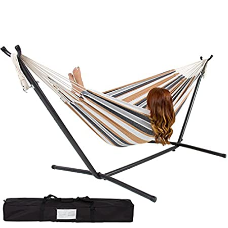 Best Choice Products presents you this brand new double hammock with steel stand. This hammock is designed for promoting relaxation lifestyle in any outdoor place. It is made of 100% cotton and the stand is constructed of sturdy and all weather-resin...