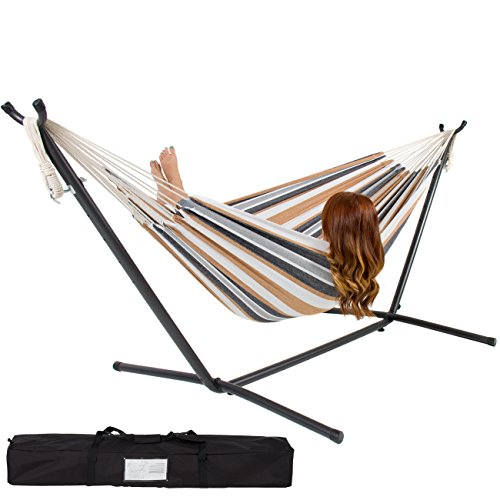Best Choice Products® Double Hammock With Space Saving Steel Stand Includes Portable Carrying Case