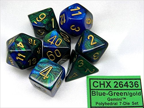 Chessex Manufacturing 26436 Cube Gemini Set Of 7 Dice - Blue & Green With Gold Numbering