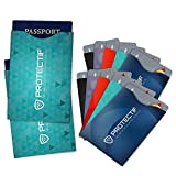 RFID Blocking Credit Card Holders for Women & Man (10) + Passport Protectors (2) - Set of 12 - Fits Wallets Purses Cell Phone Cases - Top Rated Identity Theft Protection Sleeves - Secure Your Identity